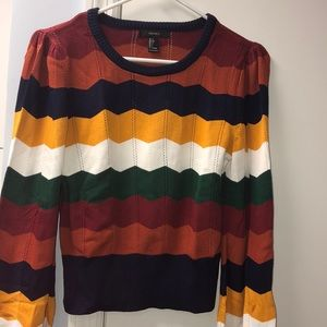 Long sleeve colored striped sweater